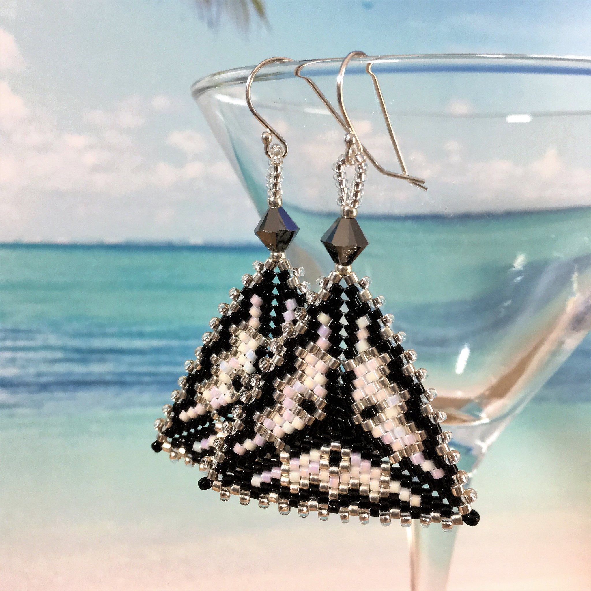 Geometric Modern Triangle Black Silver White Earrings hand made custom bead work Science Statement Sterling silver Swarovski crystals Beaded By The Beach Star Trek