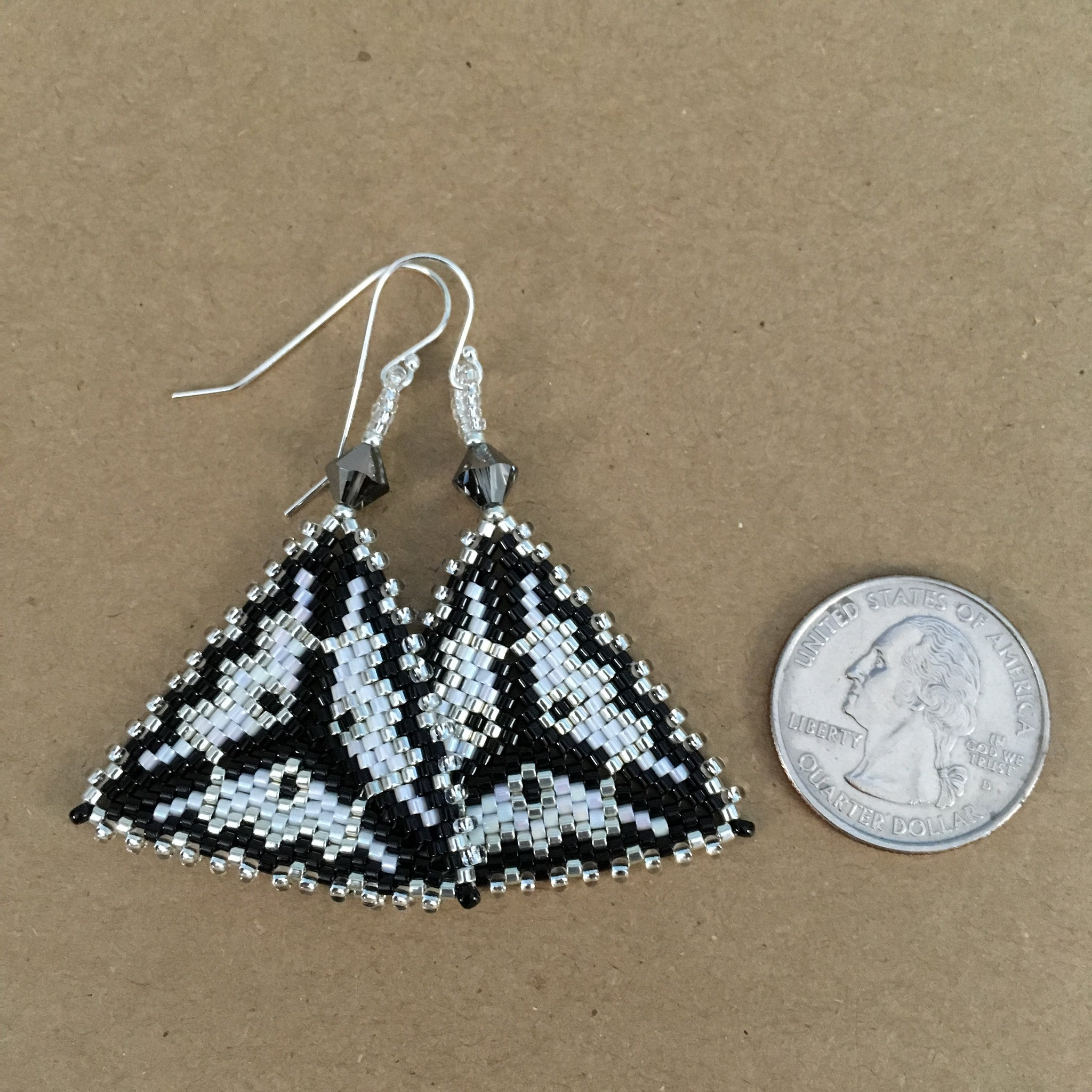 Silver, Black and White Contemporary Triangle Earrings