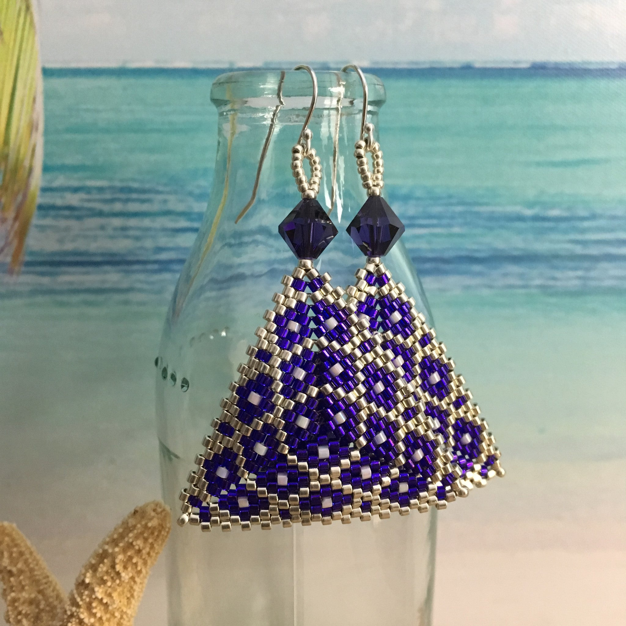 Purple and Silver Geometric Beaded Triangle Earrings elegant modern statement contemporary Swarovski beaded by the beach