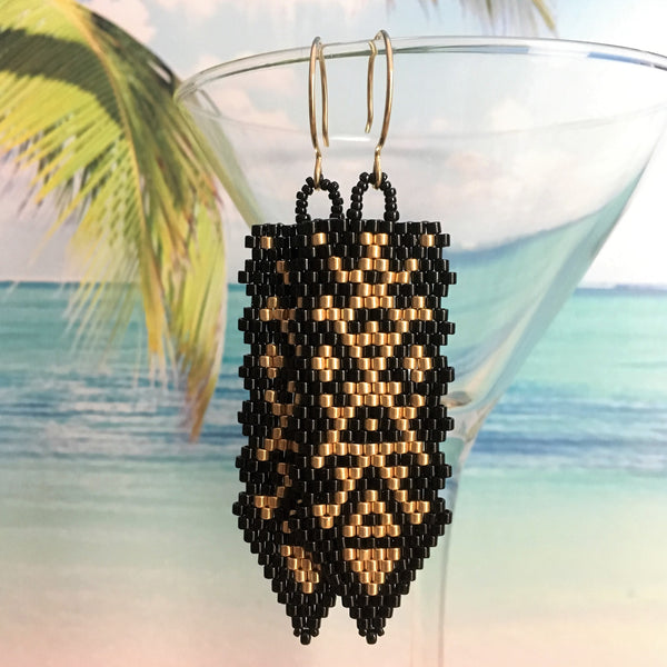 Black gold long handmade peyote beaded earrings