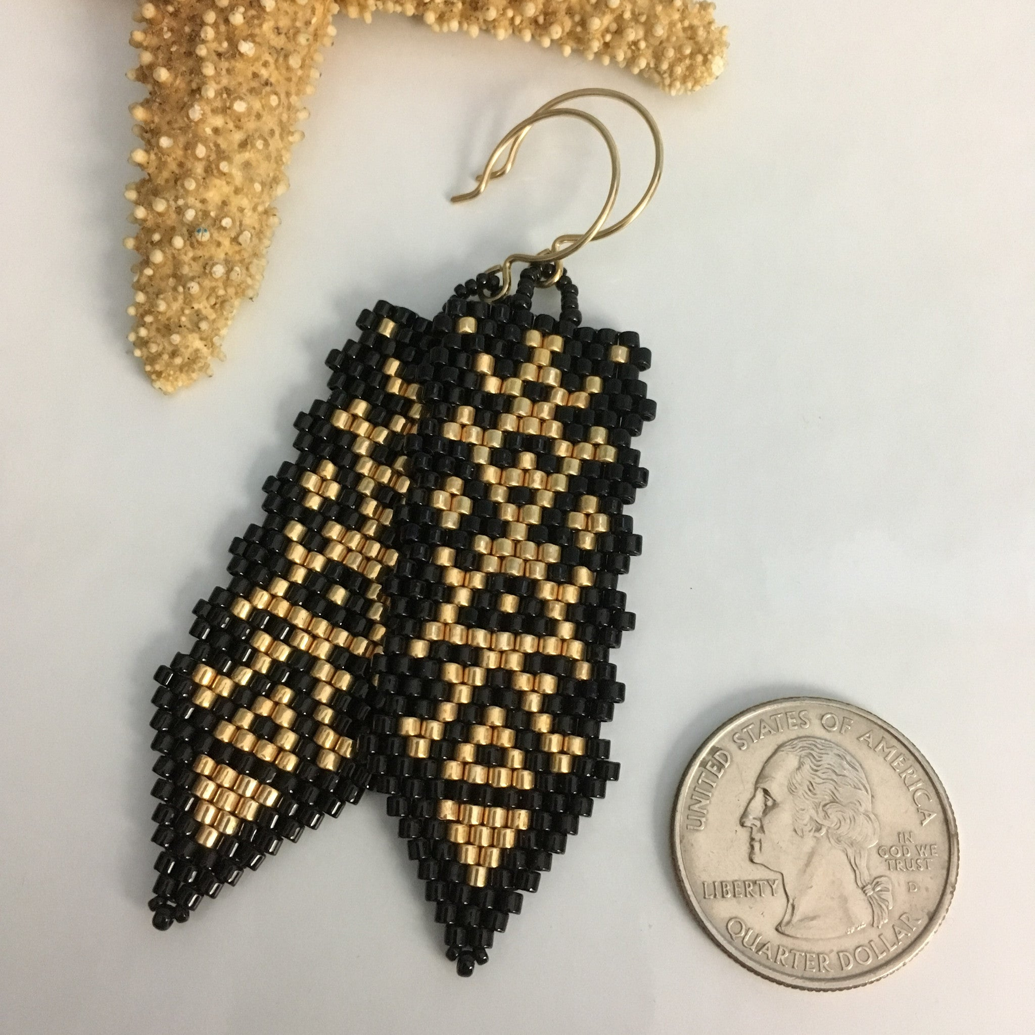 Black and Gold Long Beaded Earrings