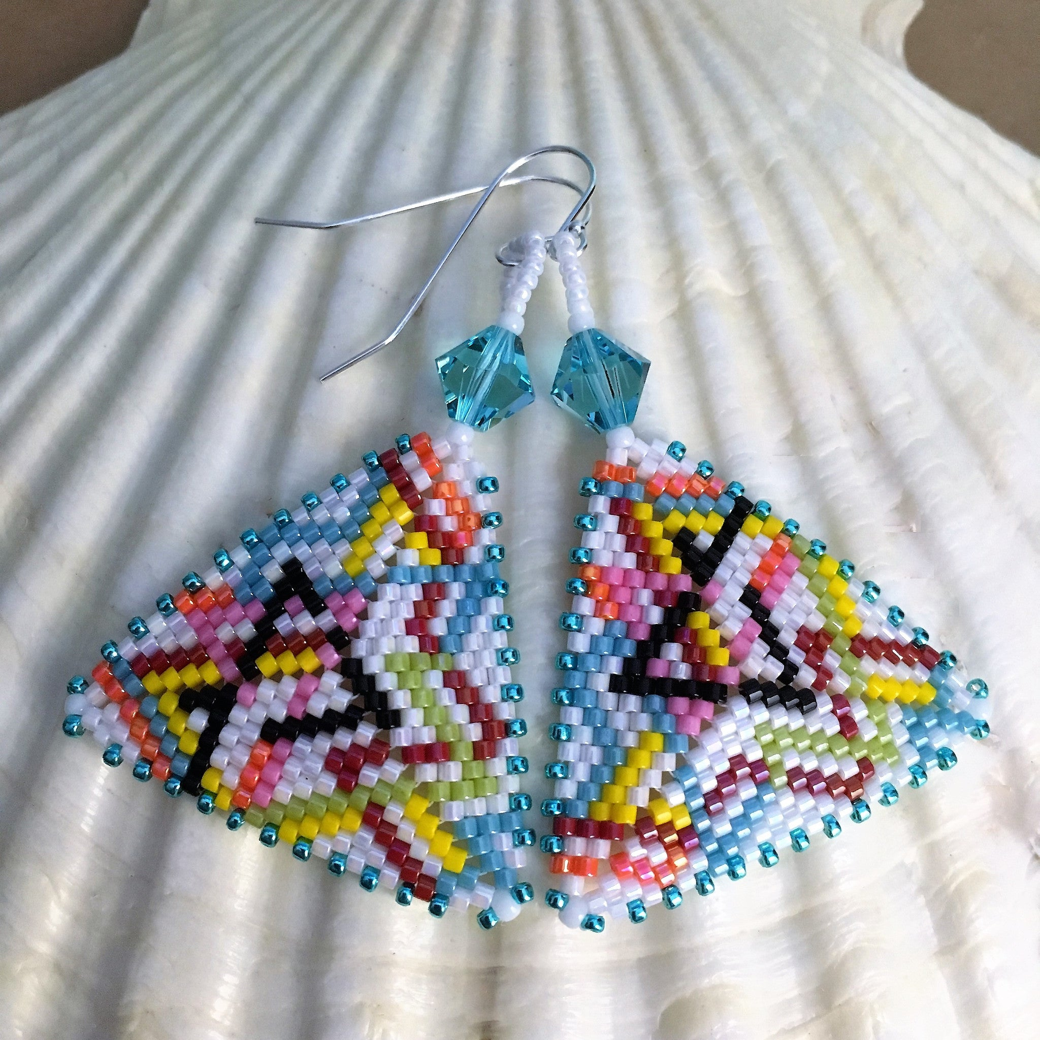 Handmade beaded subway map triangle earrings sterling silver Swarovski crystals