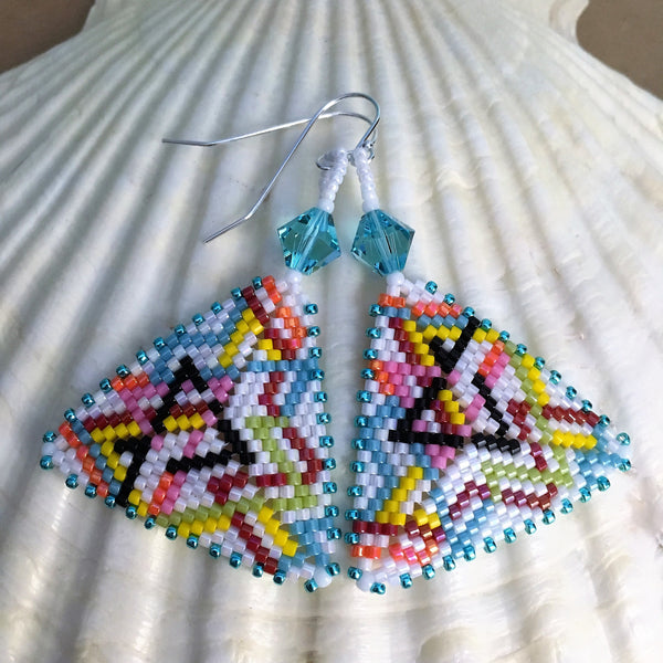 Handmade beaded subway map triangle earrings sterling silver Swarovski crystals beaded by the beach
