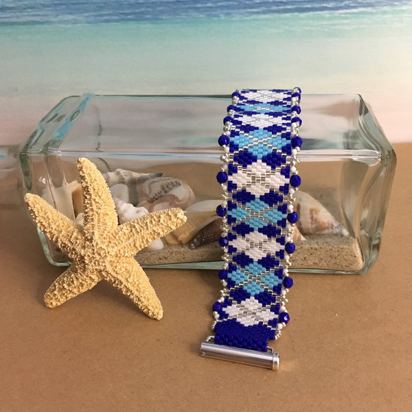 VU Villanova Wildcats colors Beaded handmade Argyle bracelet  GO CATS Beaded By The Beach