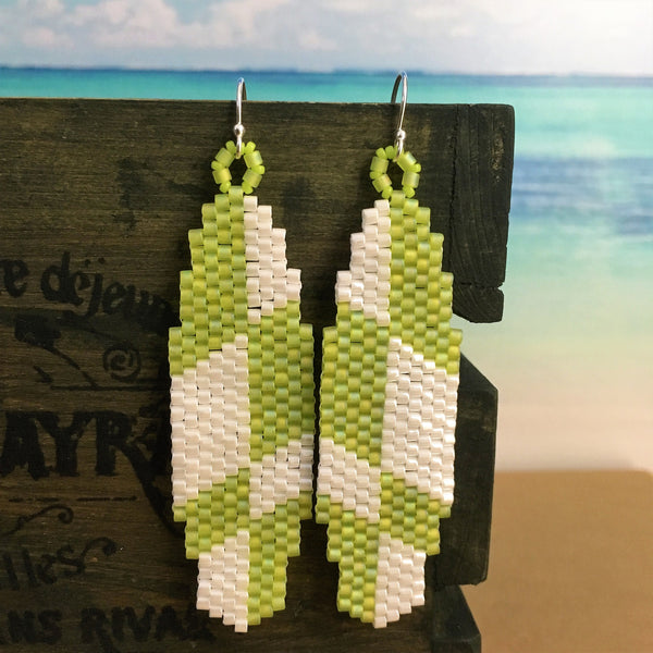 Surfboard LOST style beaded handmade earrings lime and white beachy fun laid back