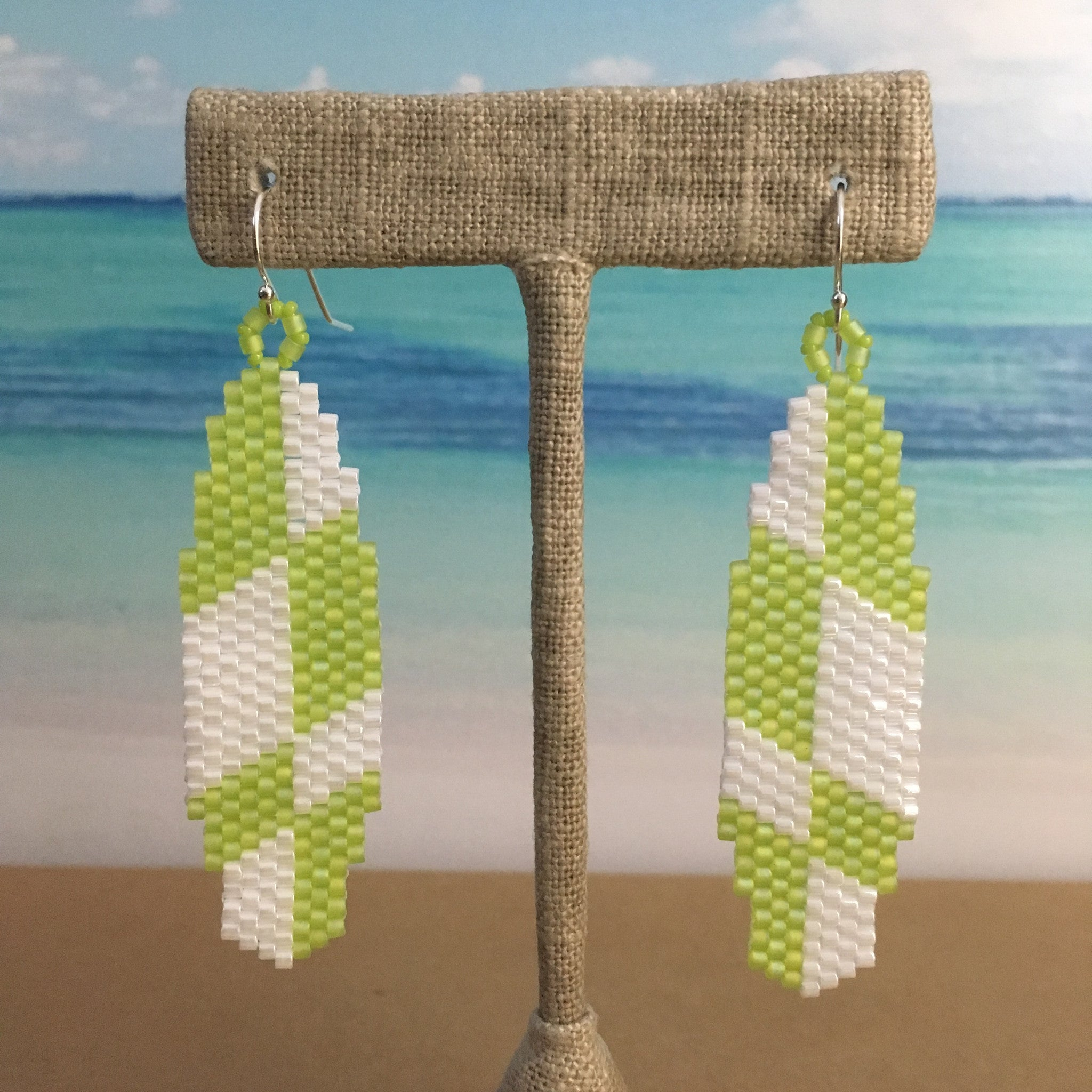 Surfboard Summer Earrings in Lime Green and White