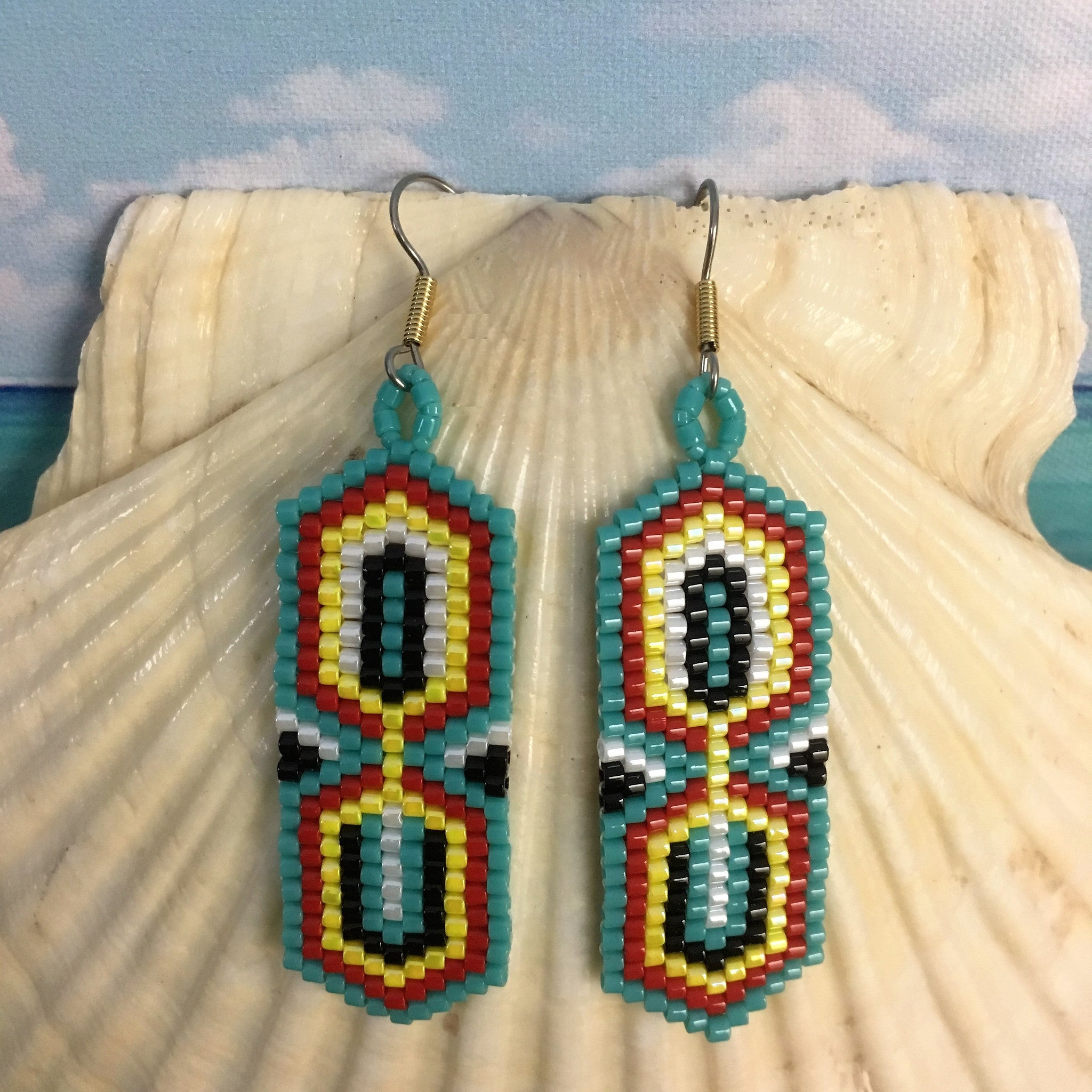 Boho Mid Century modern hourglass shape earrings handmade beaded earrings turquoise red yellow white lightweight original design beaded by the beach