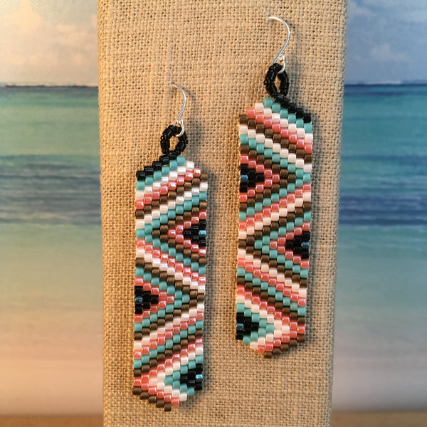 Beaded by the Beach Turquoise coral black silver earrings lightweight sterling silver French ear wires boho long native zig zag design