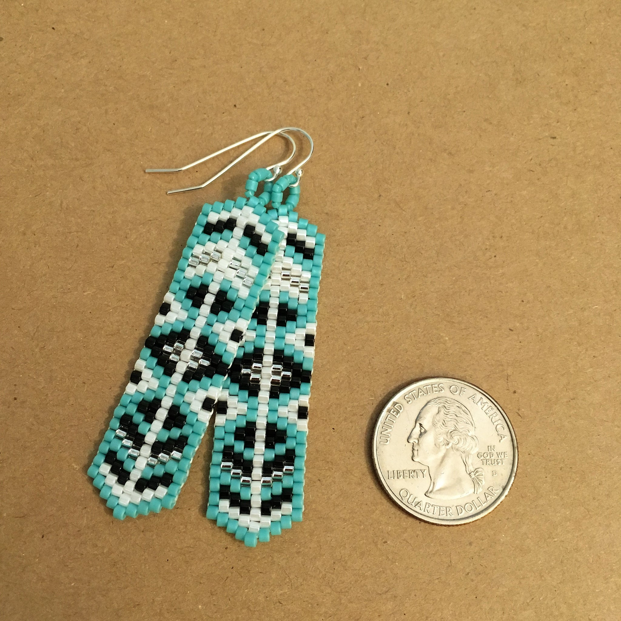 Long Turquoise, Black, White, and Silver Earrings