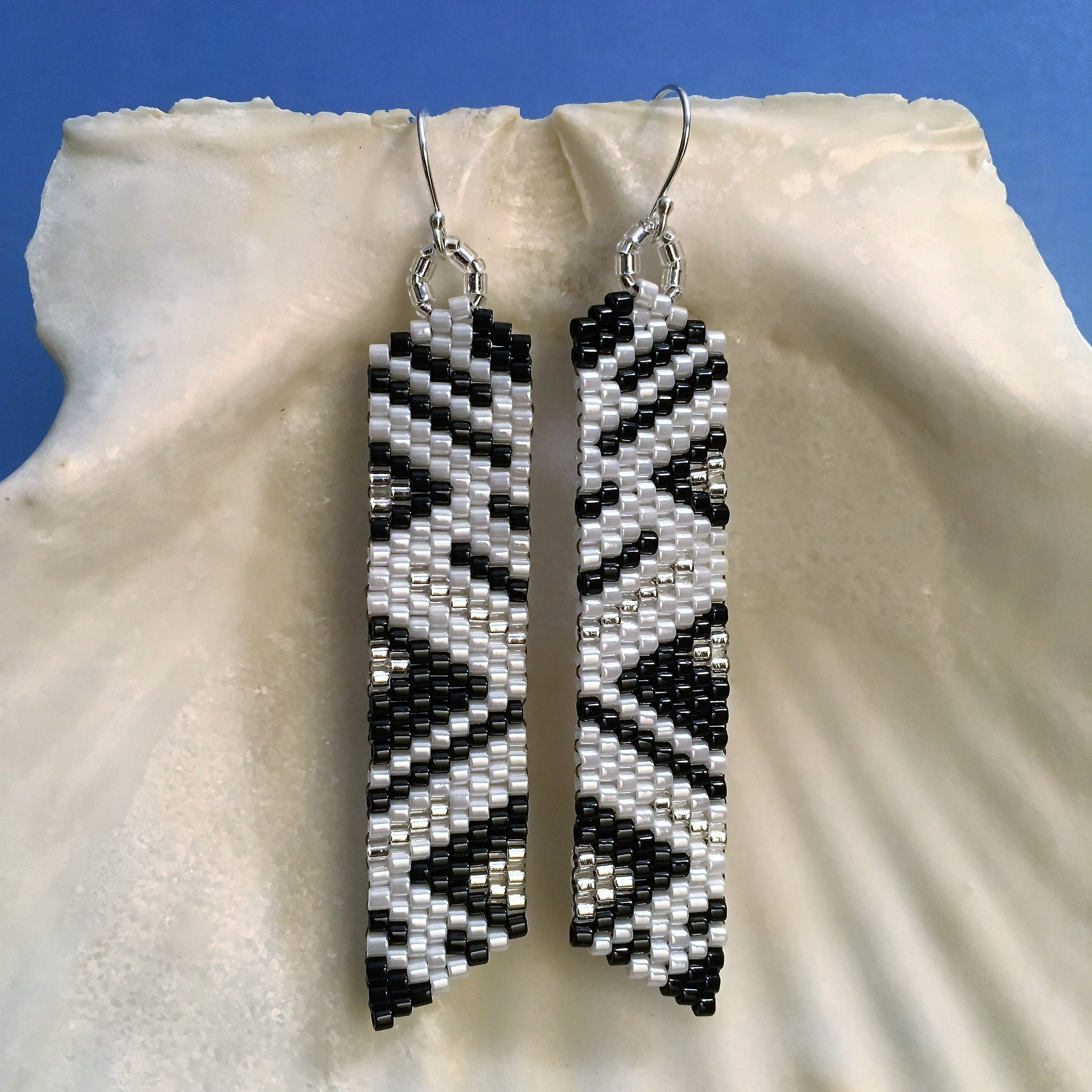 Handmade beaded earrings long lightweight black silver white sterling silver