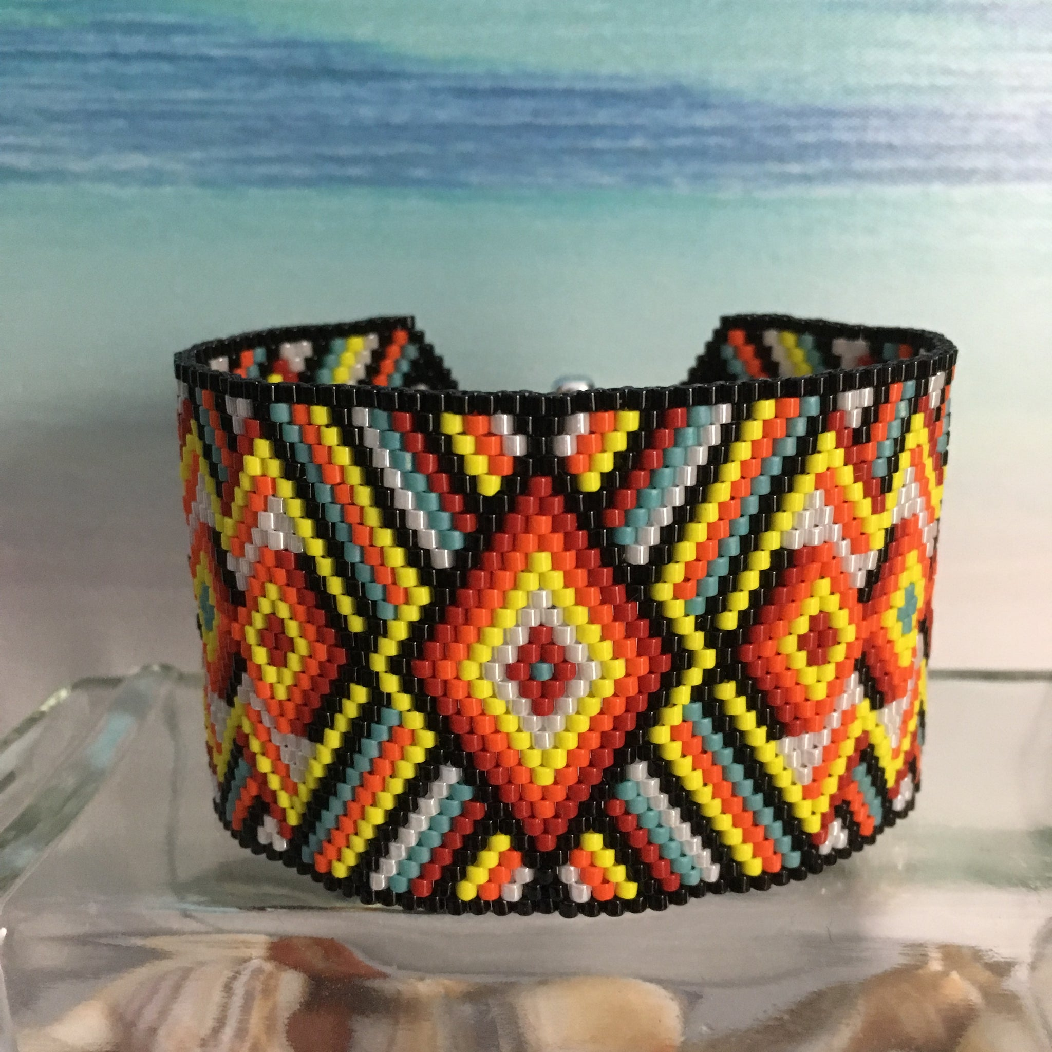 Handmade beaded bracelet bold black wide Native Sundance style bright colors original design