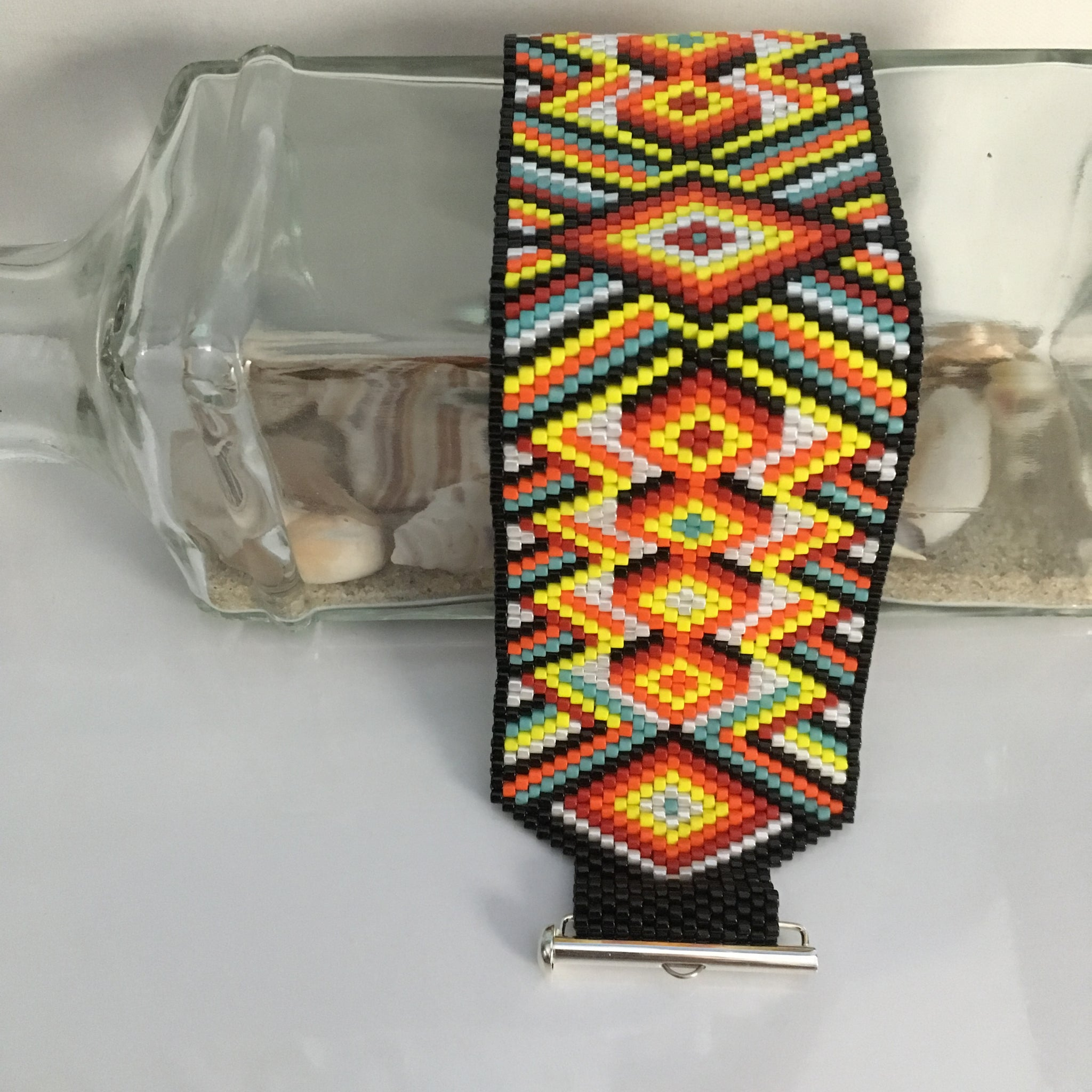 Bold Peyote Bracelet in Black, Red, White, Yellow and Blue