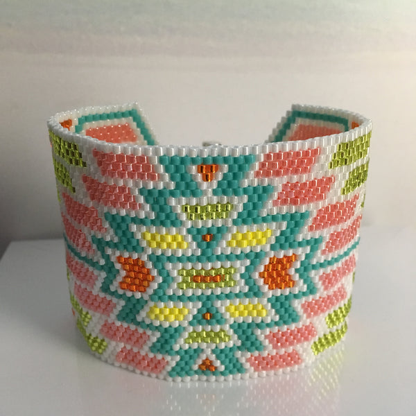 Pastel Peyote Turquoise Pink Orange and White Bracelet