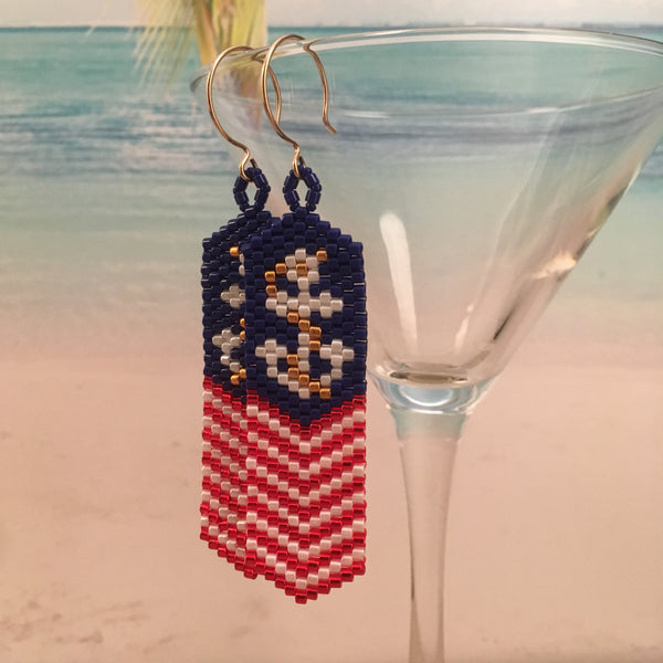 Patriotic Nautical Anchor USA Red White US NAVY USMC Blue Beaded Earrings lake house America