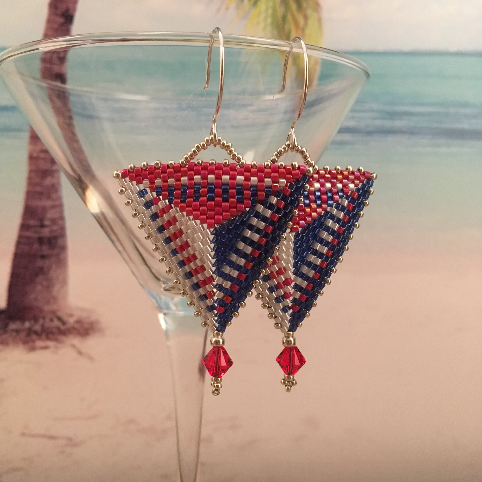 Red White Blue Modern Triangle beaded earrings USA Patriotic flag Swarovski crystals sterling silver ear wires long lightweight modern beaded by the beach