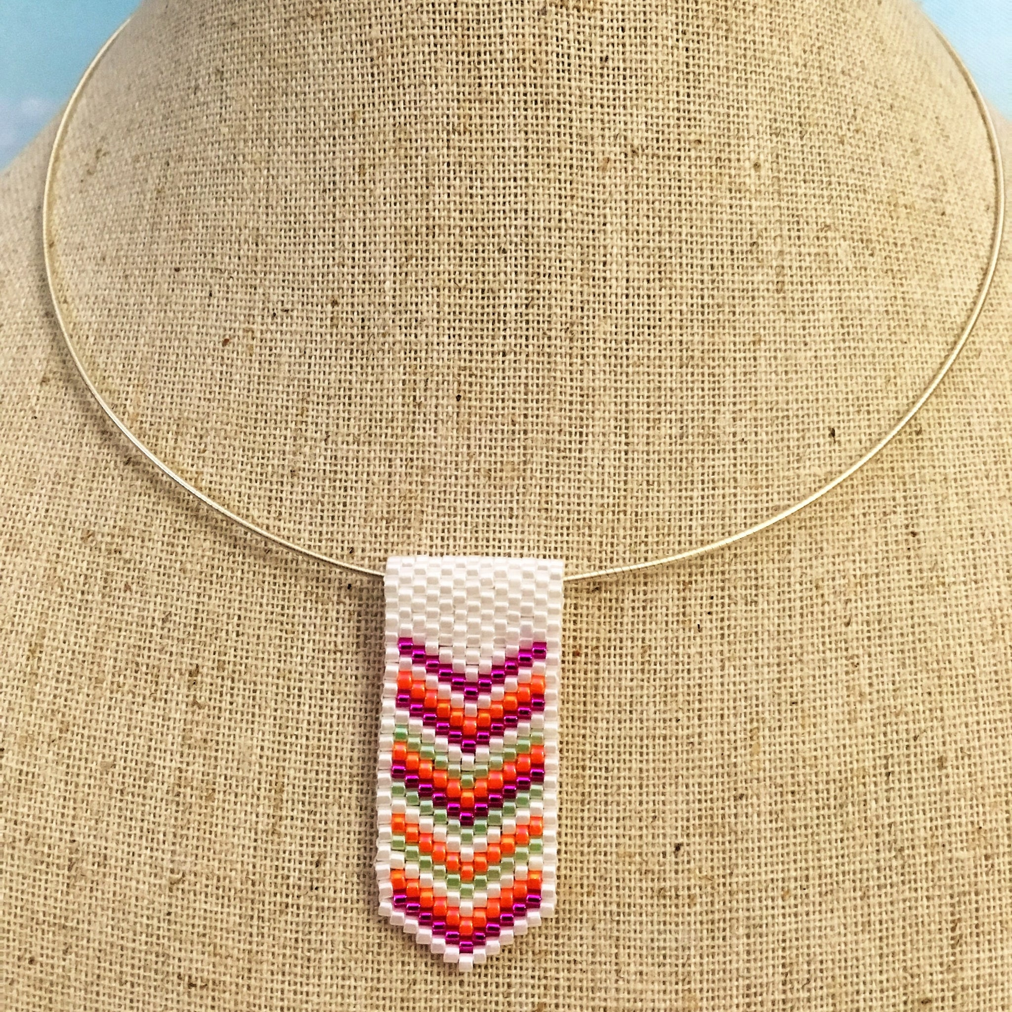 Handmade beaded mini chevron arrows peyote pendant pink orange white