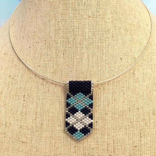 Villanova Wildcats blue silver white argyle plaid handmade minimalist beaded pendant Go Cats NOVA