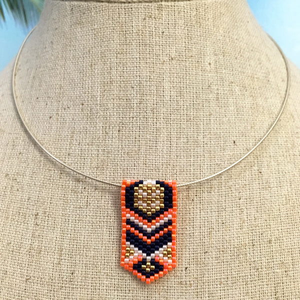 Handmade beaded mini pendant peyote Navy gold orange white