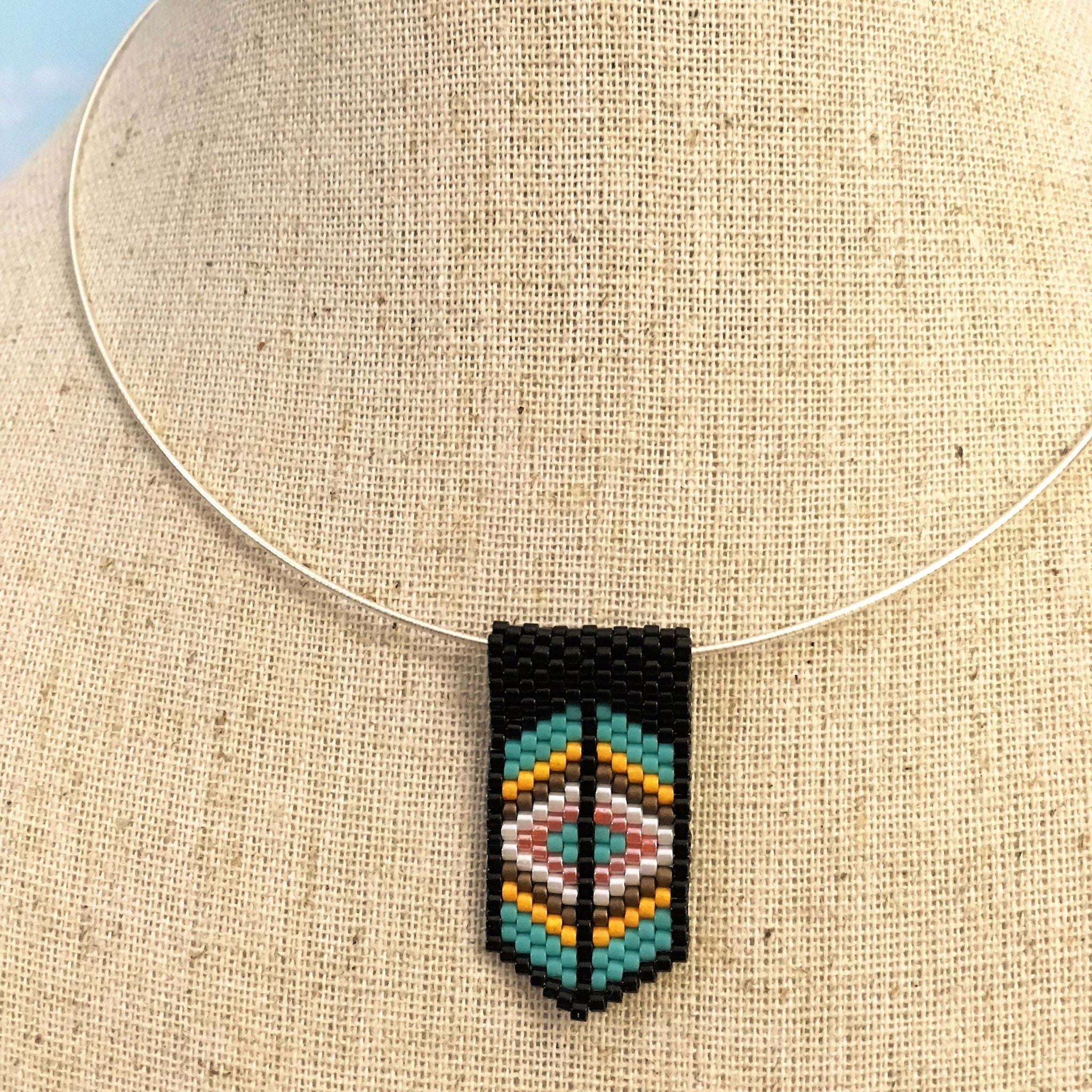 Handmade beaded mini pendant peyote black turquoise white