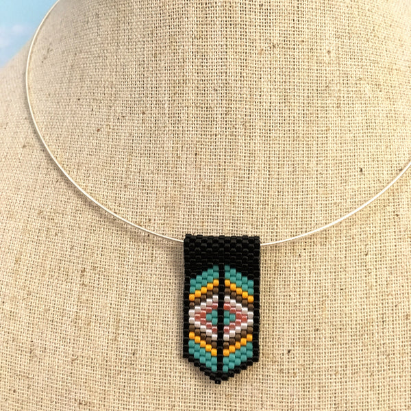 Mini Pendant Necklace in Black, Turquoise, Pumpkin and White