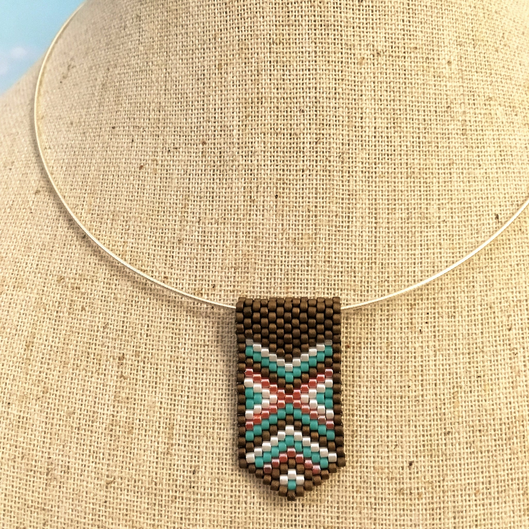 Handmade beaded mini pendant peyote bronze turquoise coral white