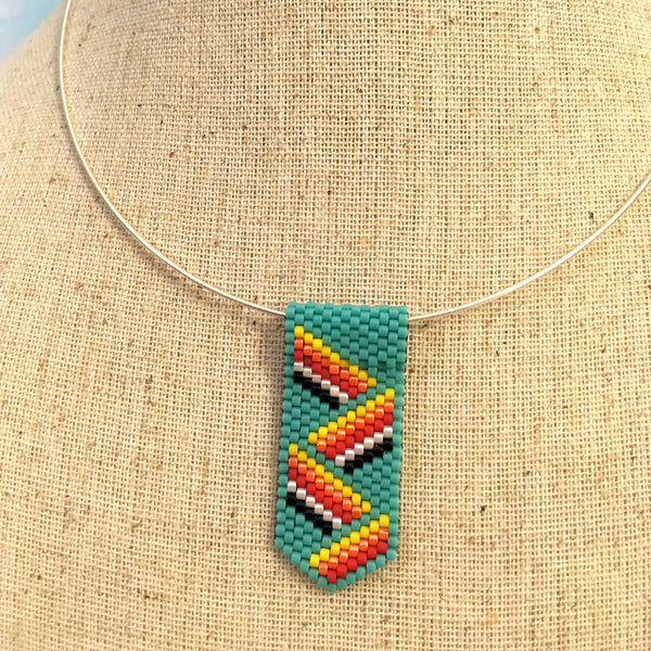 Mini Pendant Necklace in a Turquoise Zig-Zag Ribbon