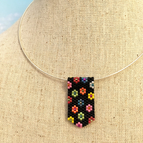 Mini Pendant Necklace in Black and Groovy Flowers