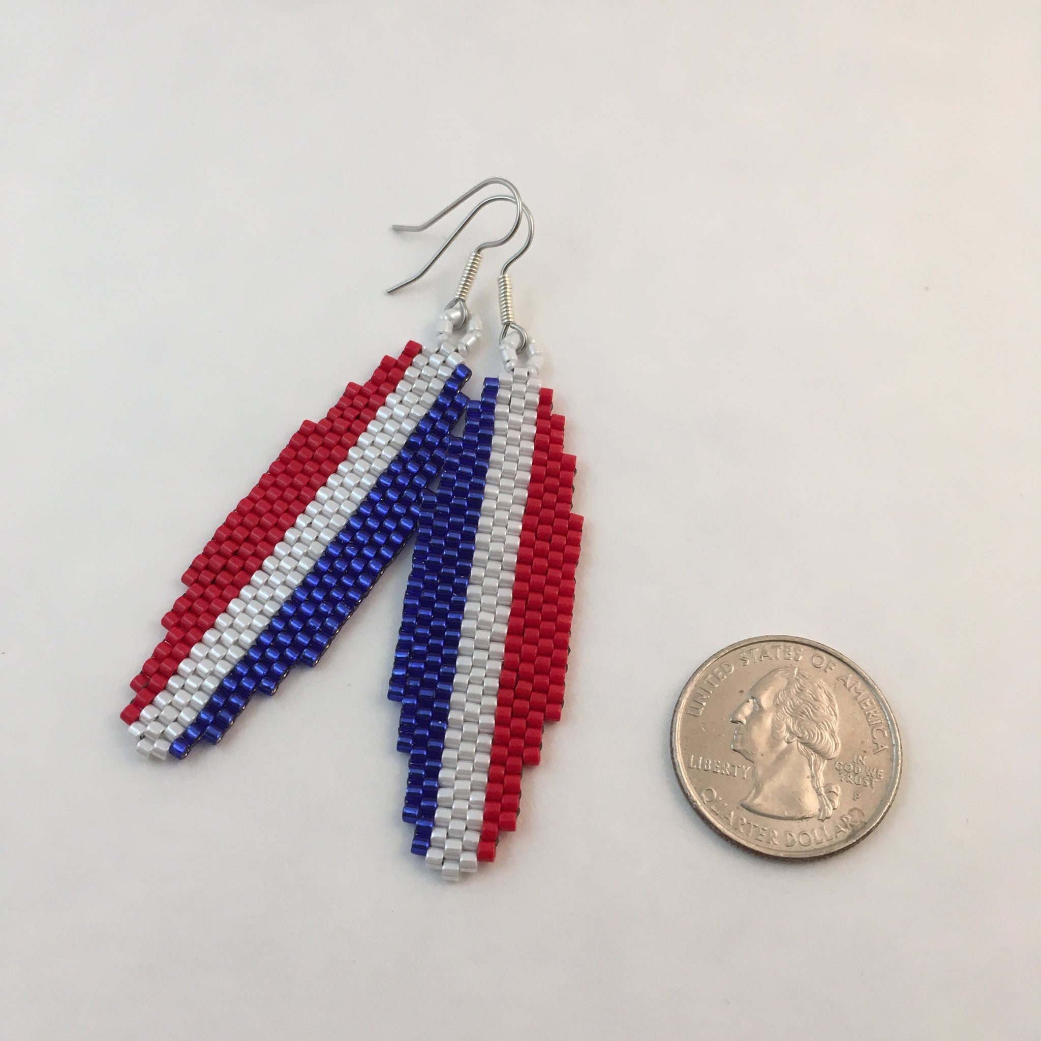 Surfboard Earrings in Red, Blue and White