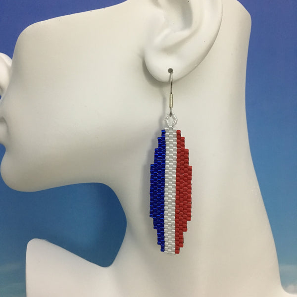 Surfboard beaded earrings handmade red white blue USA Surfing team custom colors beachy fun style Beaded By The Beach