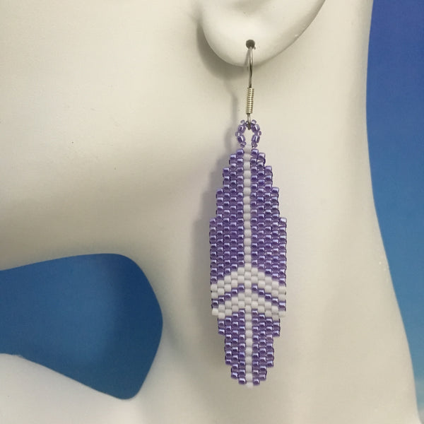 Surfboard Earrings in Purple and White