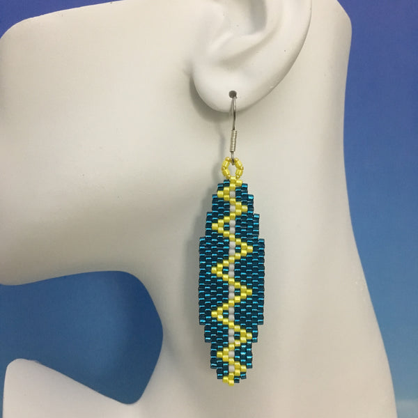 Surfboard beaded earrings handmade Custom Teal Zig Zag Electric bolt beachy fun style Beaded By The Beach