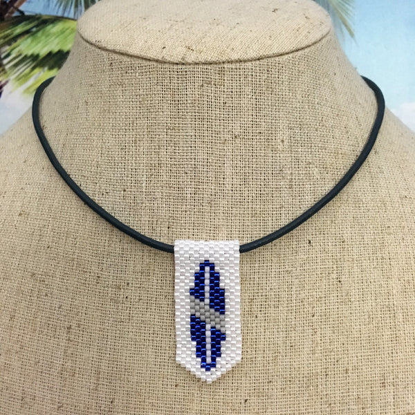 Handmade beaded mini pendant surfboard blue gray white leather cord