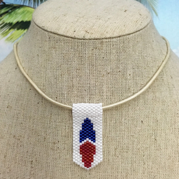 Handmade beaded mini surfboard pendant USA red white blue leather cord