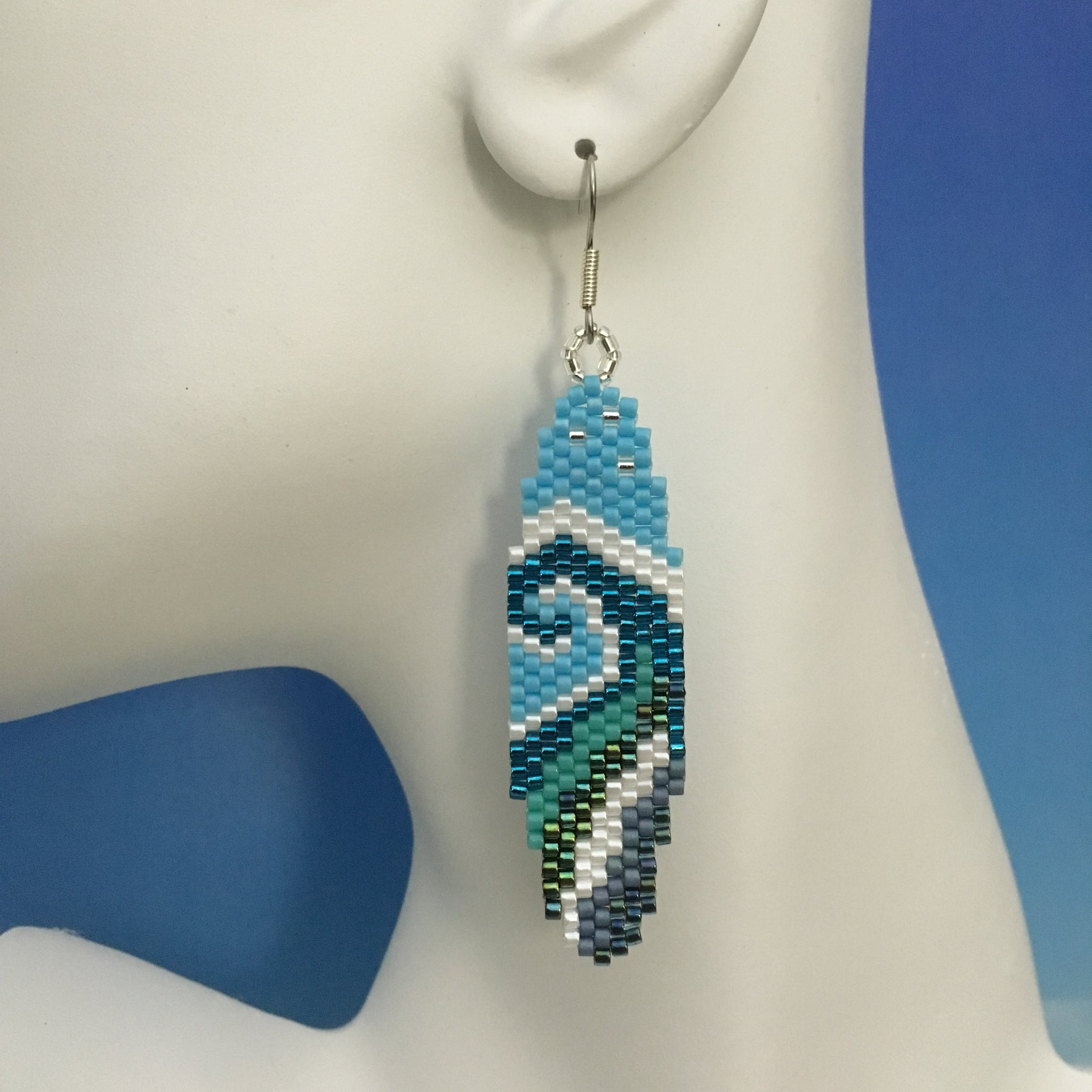 Surfboard WAVE beaded handmade earrings Surf love beachy fun style ocean Beaded By The Beach custom