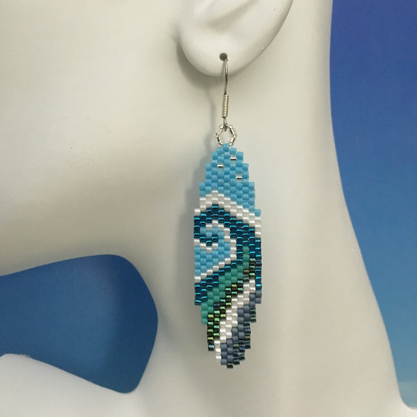 Surfboard WAVE beaded handmade earrings Surf love beachy fun style