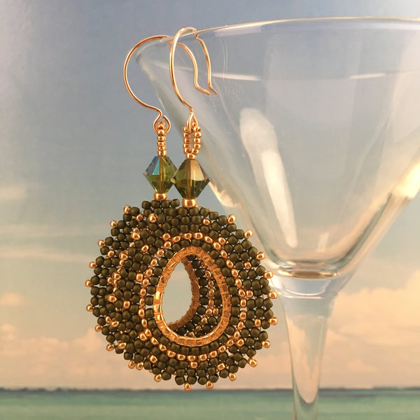 Olive Green and gold beaded oval teardrop earrings with Swarovski crystals Beaded by the Beach 14K gold filled party prom bridal custom