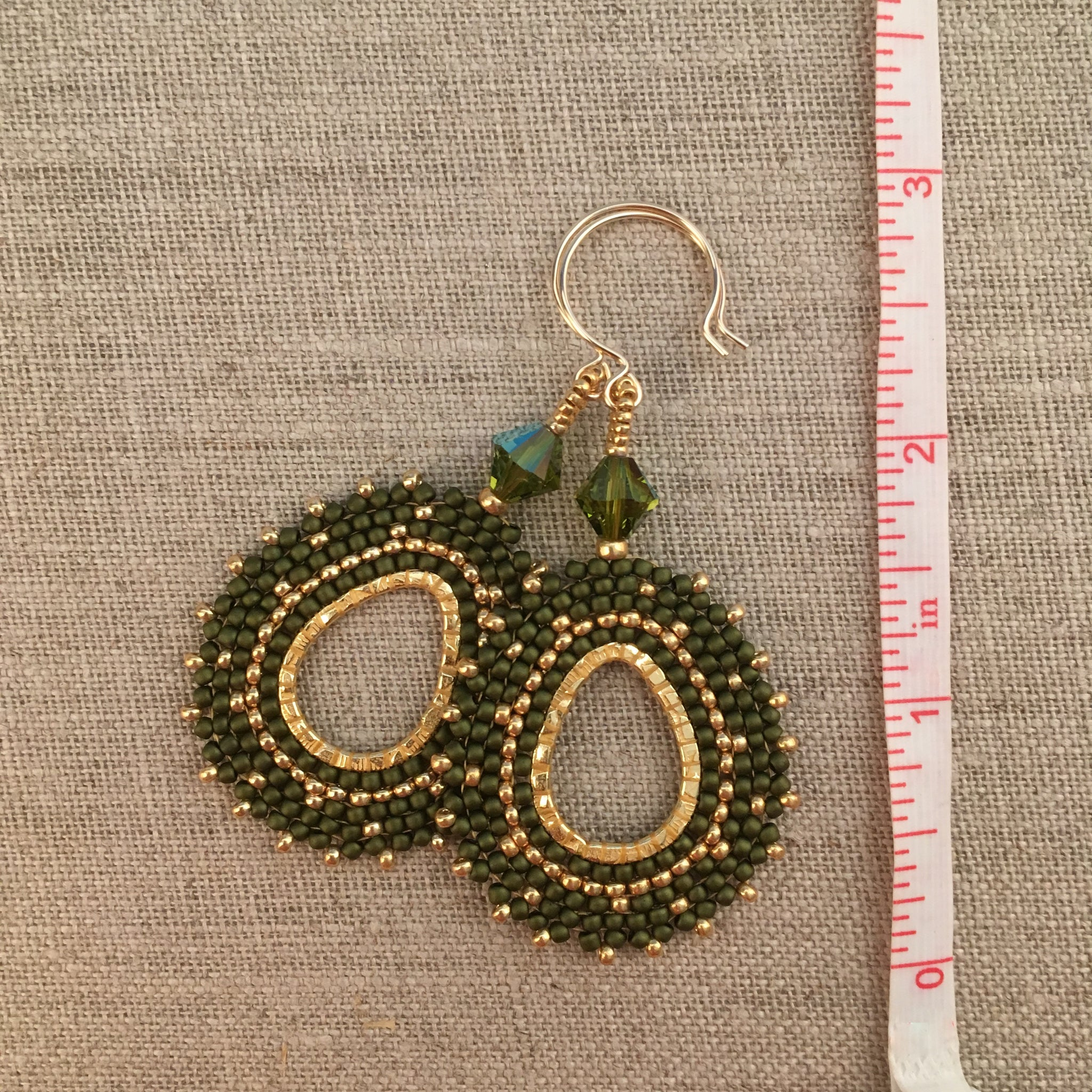 Olive Green and Gold Oval Hoop Beaded Earrings with Swarovski™ Crystals