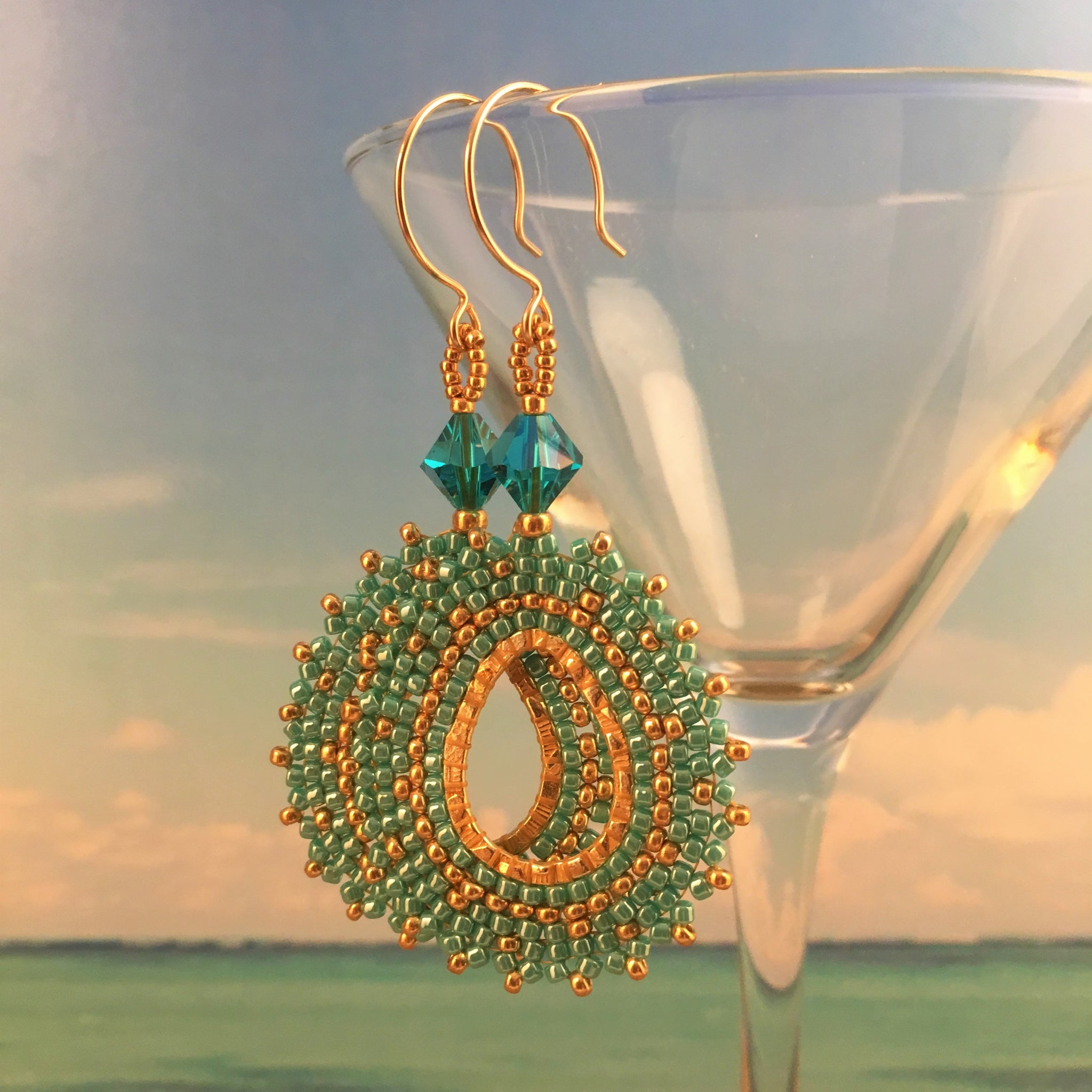 Turquoise and gold beaded oval earrings with Swarovski crystals 14K gold-filled handmade Beaded By The Beach custom orders available