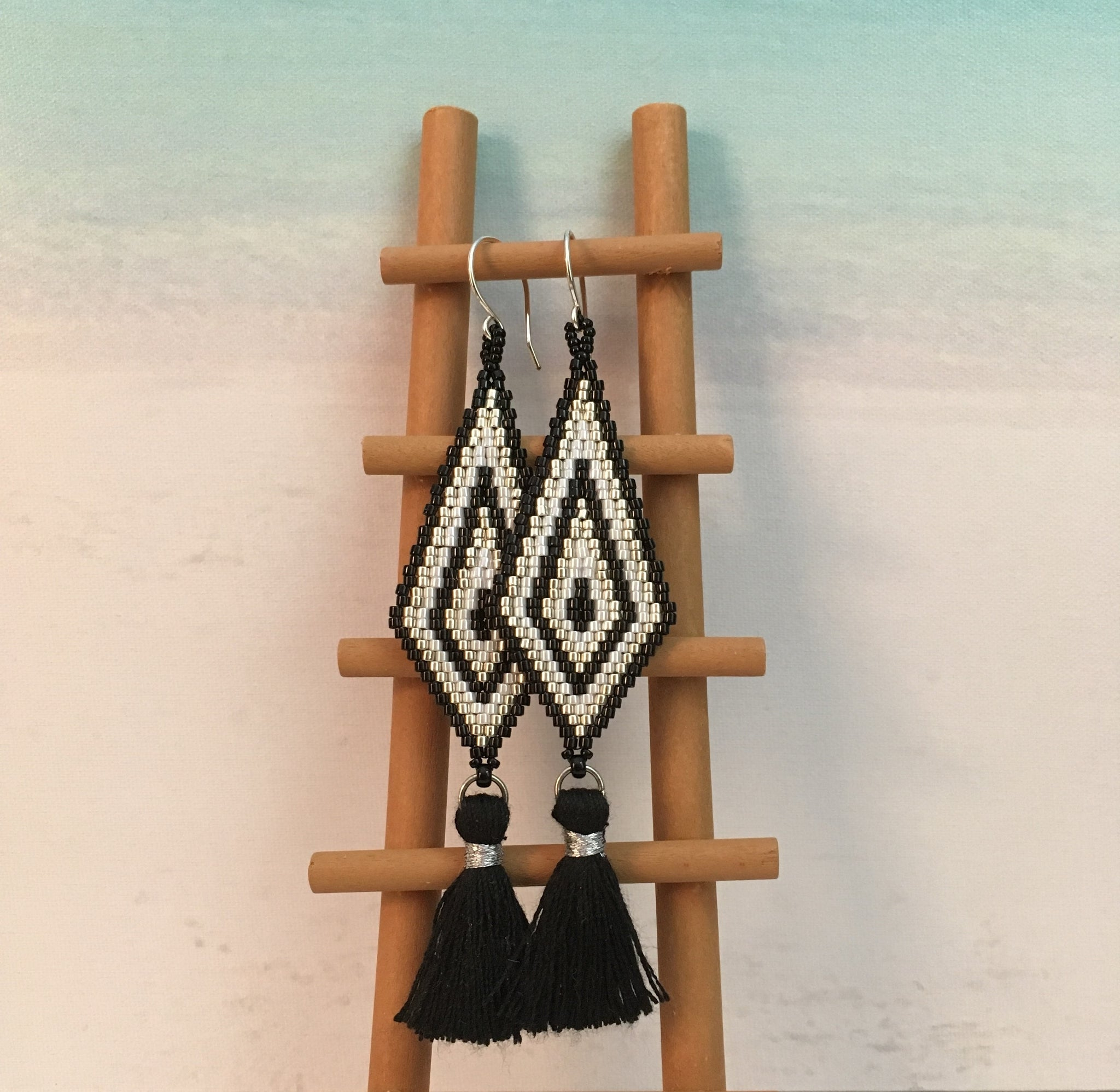 Black white beaded long tassel handmade earrings