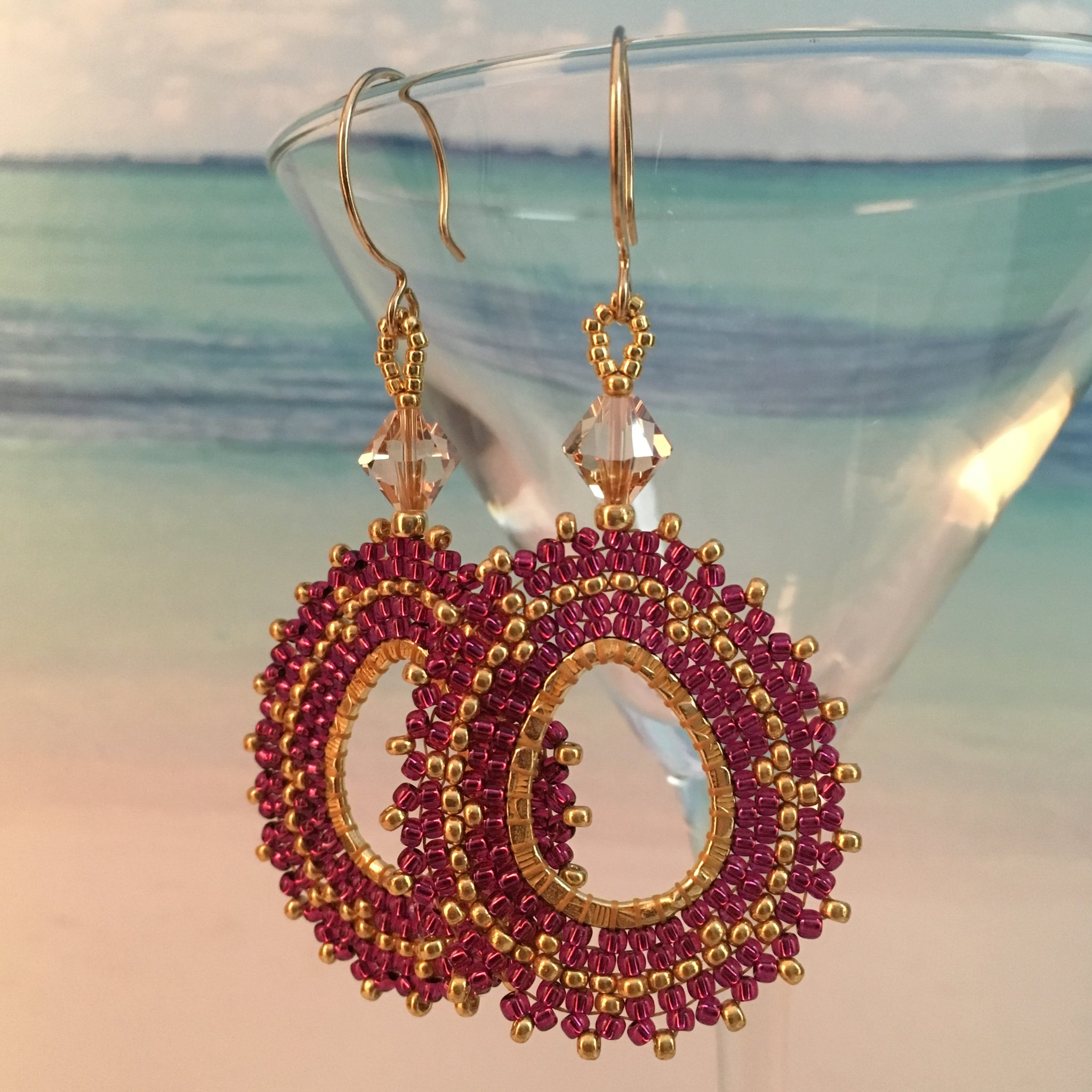 Cranberry Wine and Gold beaded oval teardrop Earrings genuine Swarovski crystals bridal prom elegant sparkle beaded by the beach