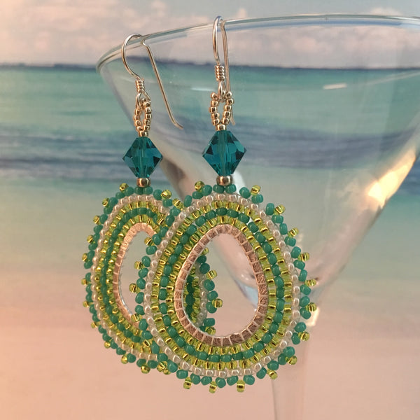 Handmade beaded oval hoop earrings lime green silver turquoise white Swarovski crystals Sterling silver elegant bridal party prom