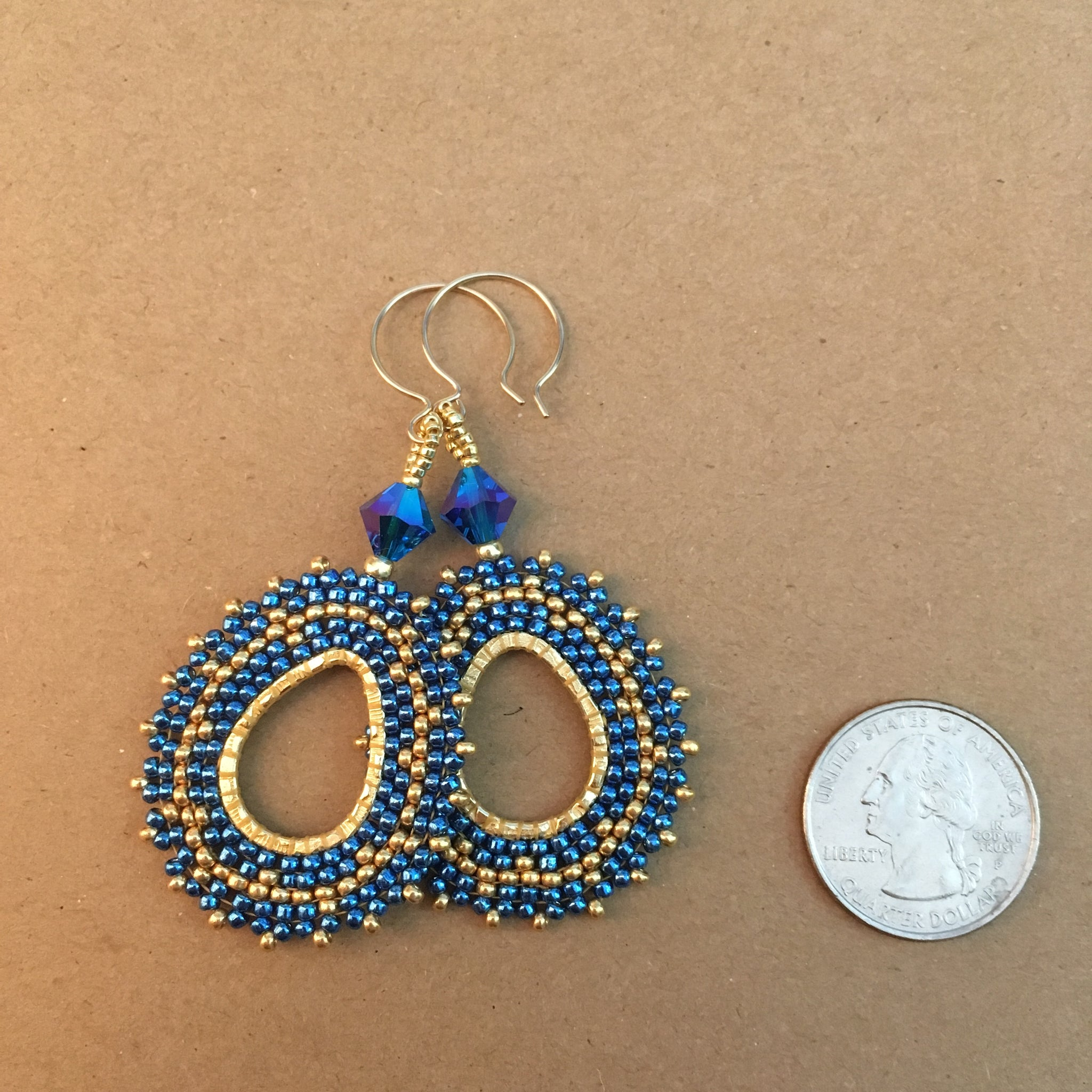 Bright Blue and Gold Oval Hoops with Swarovski™ Crystals