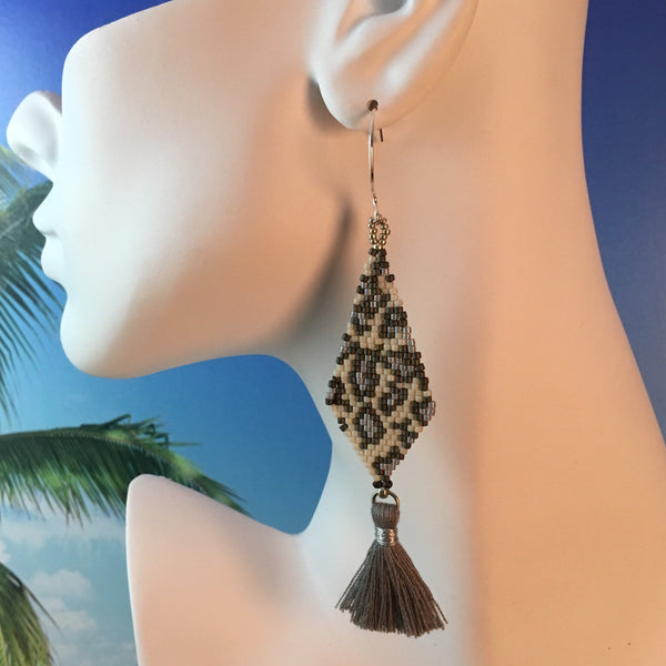 snow leopard animal print beaded tassel handmade earrings