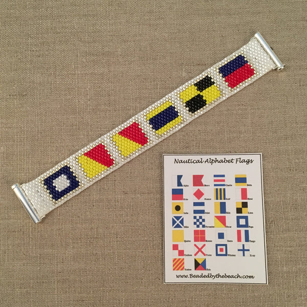 POODLE Nautical Alphabet Signal Flag Bracelet handmade beaded peyote custom name