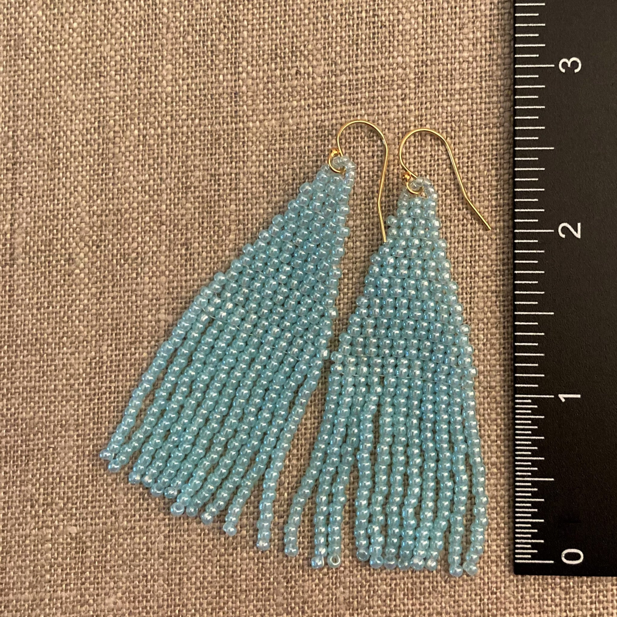 Petite Large Sky Blue Beaded Tassel Fringe Earrings