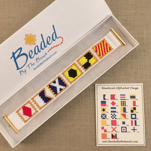 Nautical Alphabet Signal Flag Bracelet FAMILY handmade beaded peyote custom name