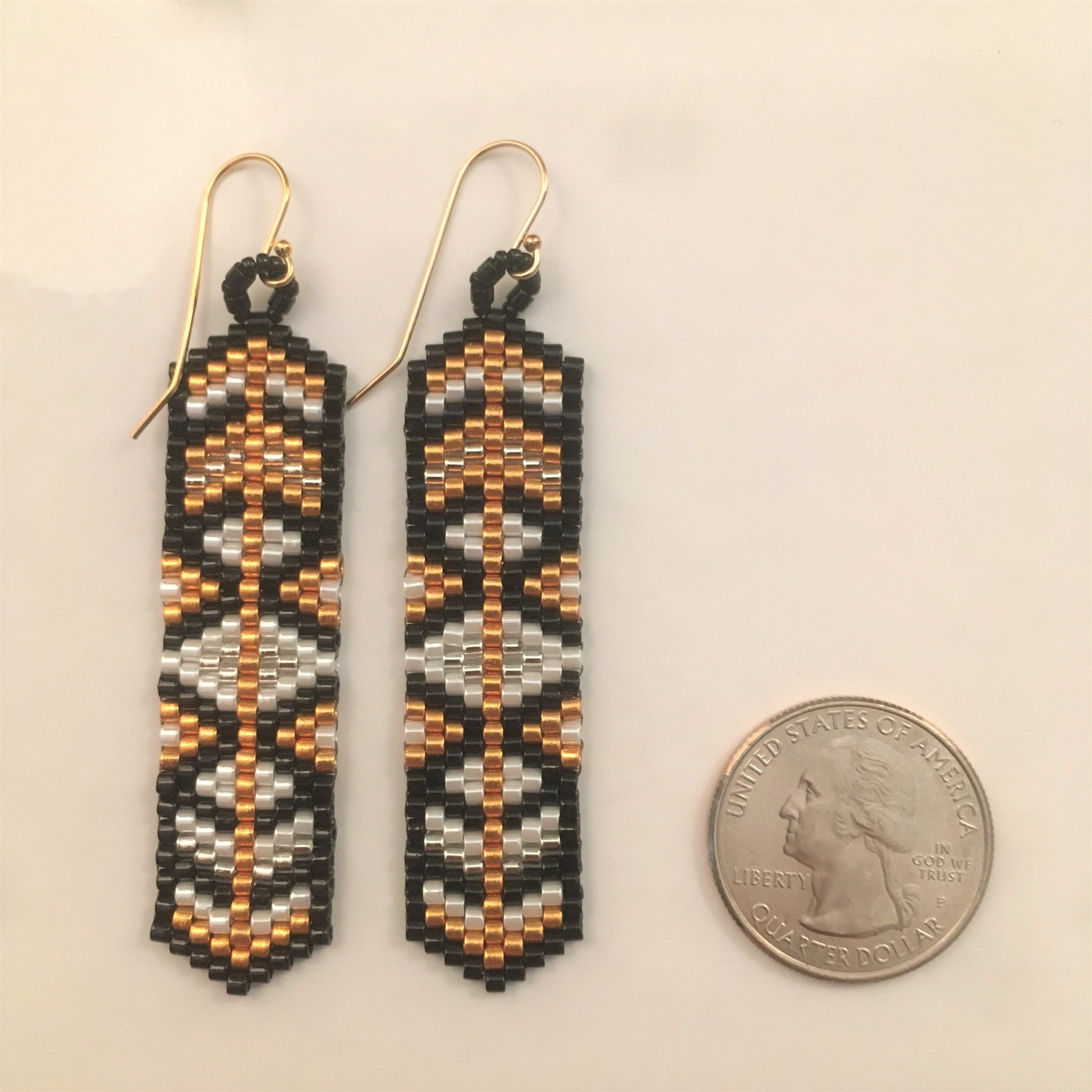 Long Black and Gold Arrow Earrings