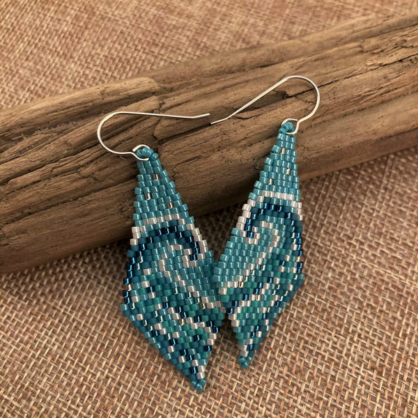 Earth Day Surf Ocean Beach swim resort peyote earrings Beaded by the Beach SUP paddle yacht boat USCG Navy Marines Lifeguard Vacation Boho Summer Water blues bead mini tapestry peyote