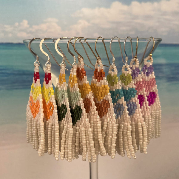 petite tassel fringe earrings beaded by the beach colorful hearts lightweight smaller fun ocean cruise resort boho hypoallergenic prime custom amazon prom wedding casual