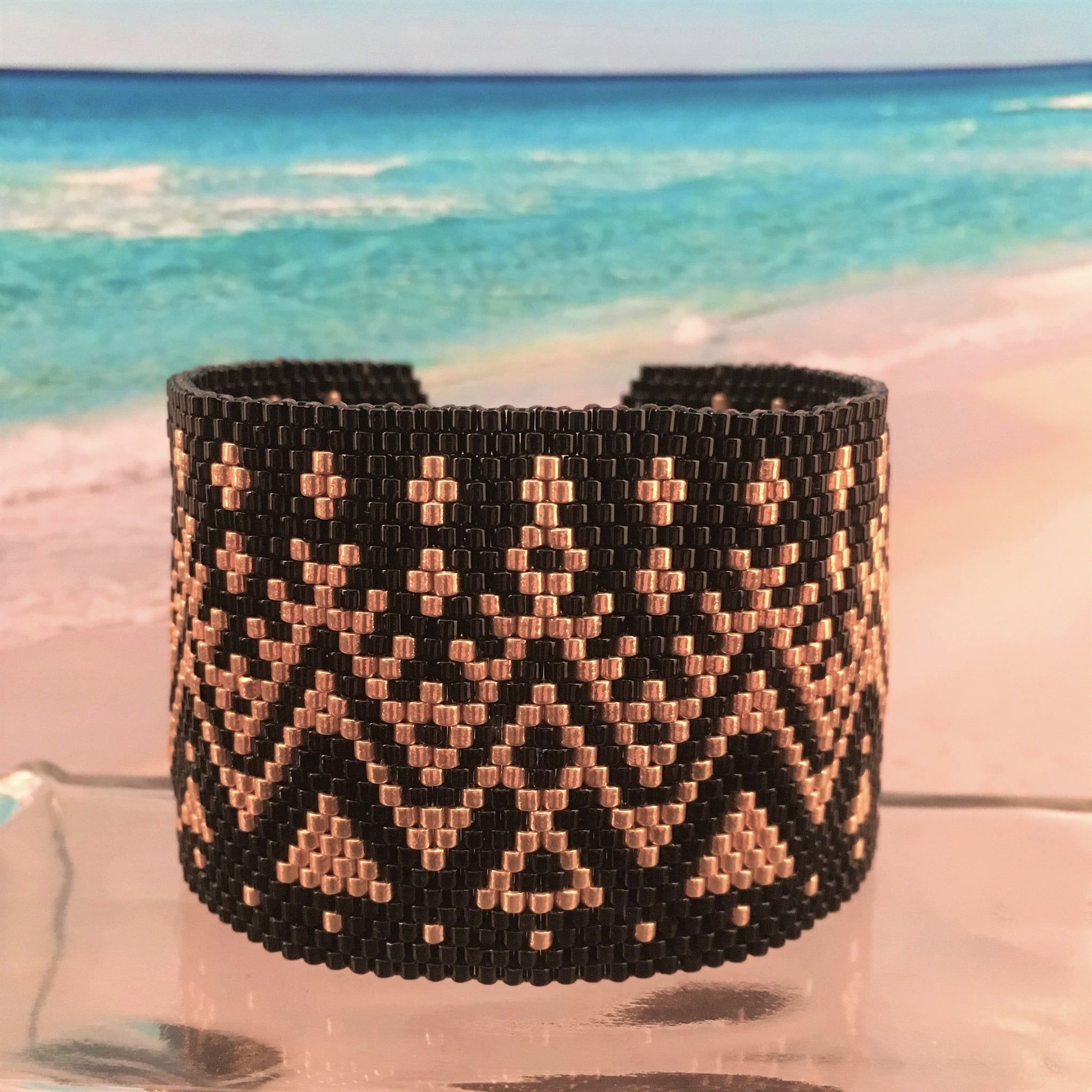 Peyote Black and Gold beaded bracelet custom Ralph Lauren style Native American inspired wide boho original design statement SAINTS team Vanderbilt NCAA Purdue  Beaded By The Beach